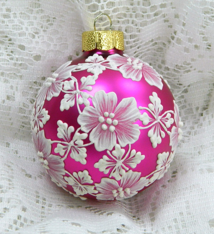 Hot Pink MUD Ornament with Flowers. via Etsy.