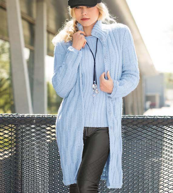Пальто с рельефным узором - схема вязания спицами. Вяжем Пальто на Verena.ru