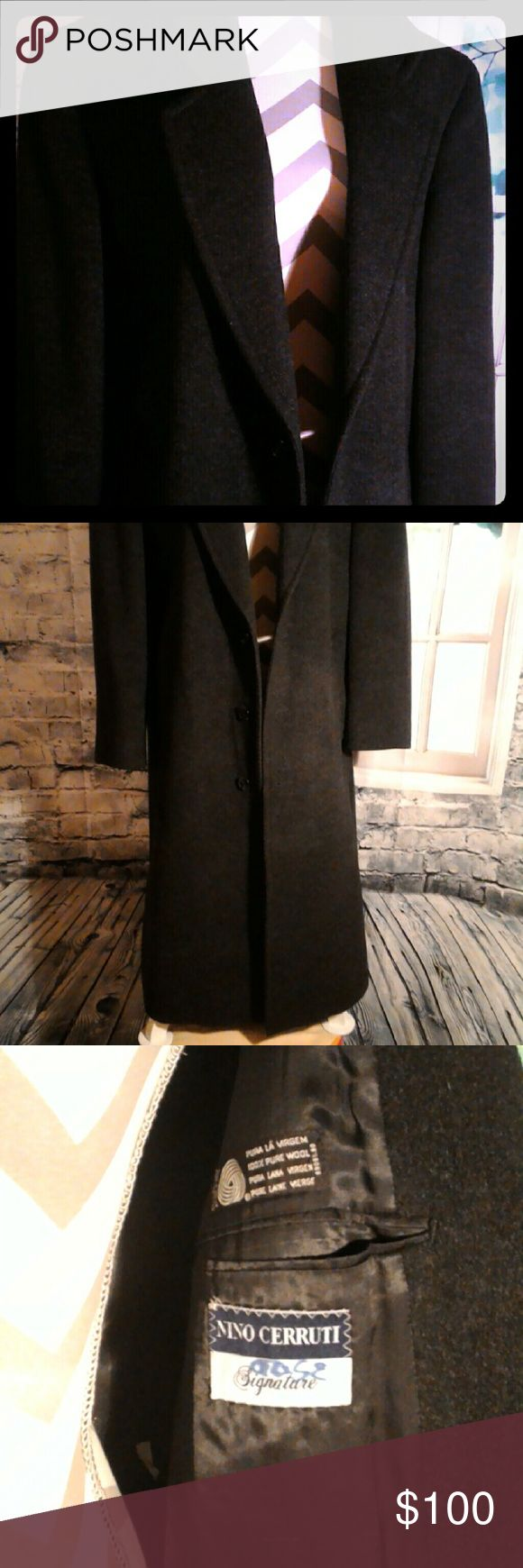 Nino Cerruti Signature Black Wool Coat 40R A Black Nino Cerruti Signature Wool 100% Coat. This fabulous jacket is in excellent condition authentic!! Looks and feels great for the Winter!! Has Notch Lapels, Double Breasted, Slit Pockets and made in Brazil!! If any questions please ask!! Nino Cerruti Signature Jackets & Coats Trench Coats