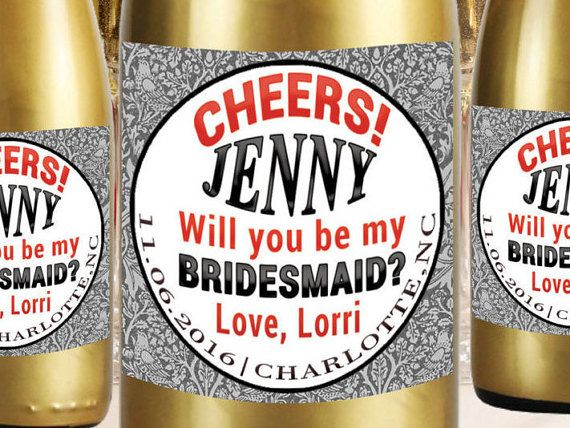 Bride Mini Champagne Labels Bridesmaid Proposal by LabelByLoveArts