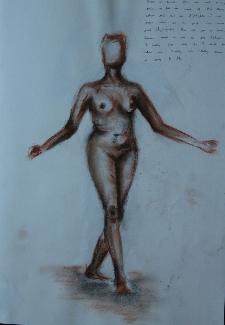 Life drawing, with light and dark highlights in chalk pastels