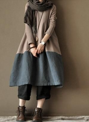 Old Blue linen dress two-piece cotton dress loose cotton dress love the colors, the drape $86.00, via clothingshow Etsy. by flora