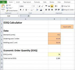 Free Excel EOQ calculator can be used by a business to determine the economic order quantity needed to minimize its inventory ordering and holding costs.