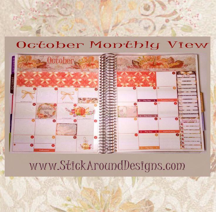 October Monthly View Kit planner stickers in Erin Condren Life Planner. www.Stic…