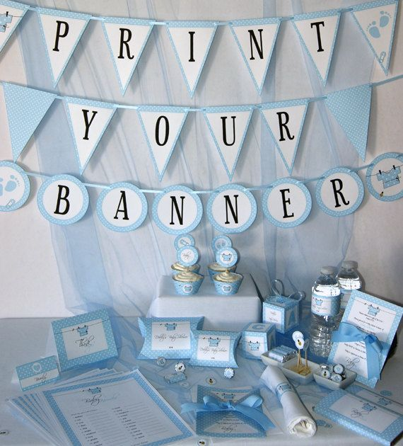 Baby Shower Printables - Baby Boy Blue - DIY Party Supplies and Decorations - Complete set - PDF digital format via Etsy