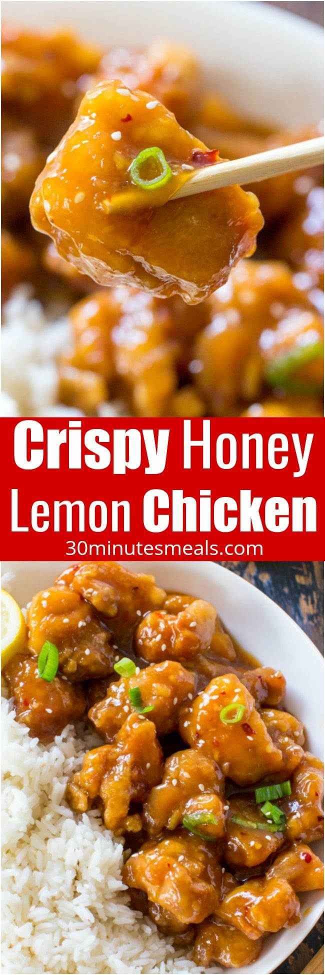 Crispy Honey Lemon Chicken is a restaurant quality meal, made easy at home in just 30 minutes in one pan! Crispy, sticky and full of honey lemon flavor.