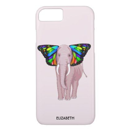 Psychedelic Pink Elephant With Butterfly Ears Cool iPhone 8/7 Case - cool gift idea unique present special diy