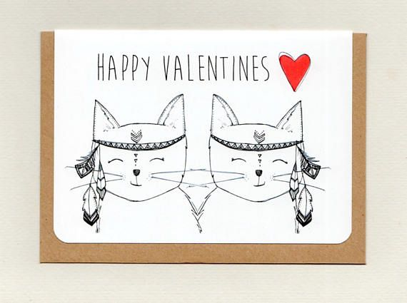 HAPPY VALENTINES . love cats . greeting card . valentines