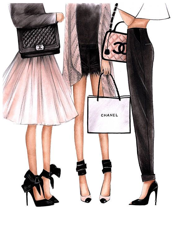 Fashion Illustration Chanel art Chanel print Fashion wall art Coco chanel art Chanel poster Chanel art print Chanel home decor Chanel girls  This is a print - copy of my original artwork drawn with soft pastel and watercolor pencils.  Available in 2 different sizes A5(5,8x8,2inches) and A4(8,2x11,6inches) Printed on thick professional and premium quality art paper (acid-free paper with matte or gloss finish)  PACKING:  Illustrations arrive in a clear cello protective sleeve with a backboard…