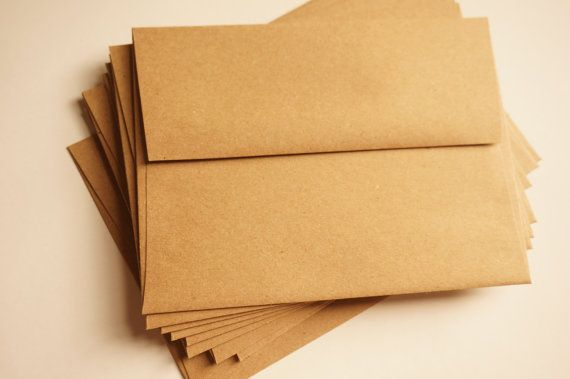 A2 Kraft Envelopes A2 envelope  Wedding envelope  by Peonyandlaces