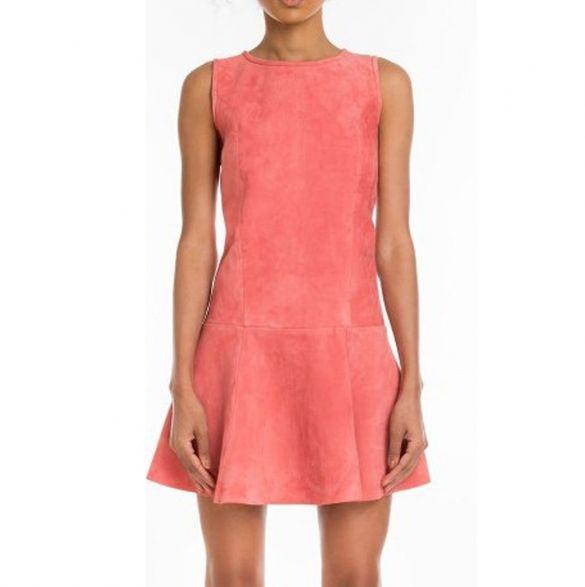 Женская мода O-образным вырезом без рукавов Замша Faux A-Line коктейль мини-платье