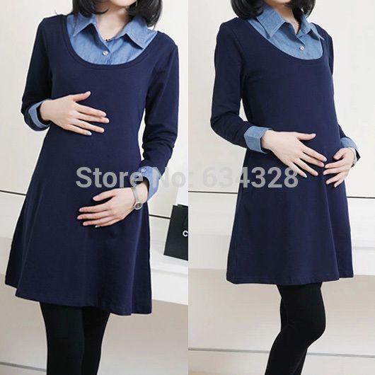 Outono inverno Denim Patchwork falso duas peças maternidade vestidos para mulheres grávidas, De manga comprida vestido de gravidez roupas(China (Mainland))
