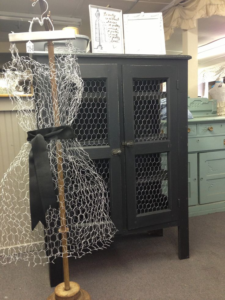 Pie safe makeover with chicken wire and a chicken wire dress form to match