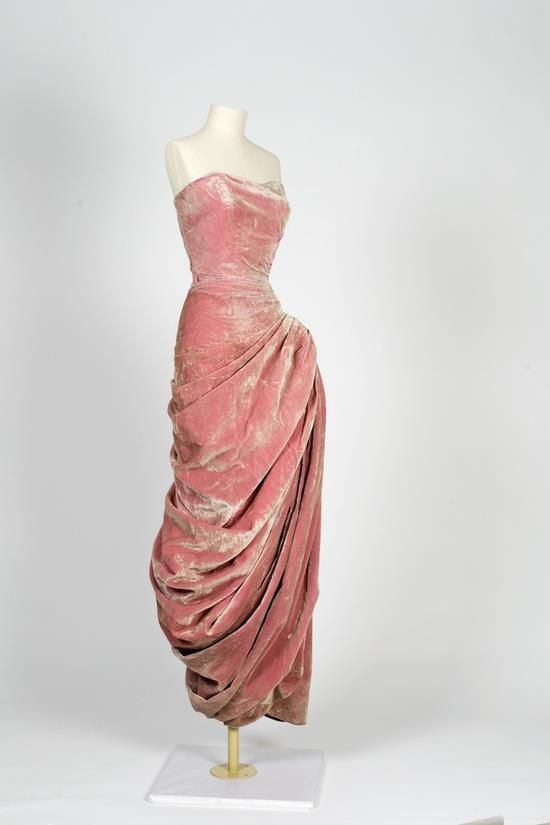 Madame Gres velvet dress. 1950s strapless evening gown, pink lurex metallic, draping hip swag, couture long column sheath.