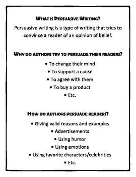 Persuasive Writing (OREO Method) Upper Elementary