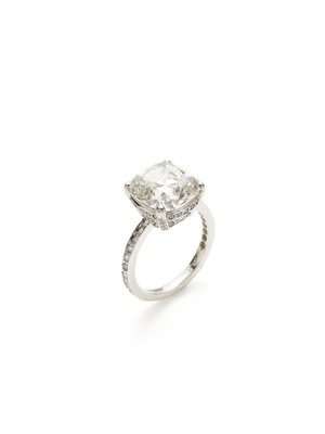 I LOVE the cushion-cut diamond (but I'd still prefer an emerald-cut).  Almost 6.5 carats - kind of scary-big...: Beautiful Jewelry, Girl Style, Cushion Cut Diamonds, Rock, Engagement Ring, Girl S Style