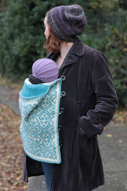 Ravelry: Tír Chonaill - Baby Wearing Edition pattern by Eimear Earley. Babywearing in the winter: knit carrier cover