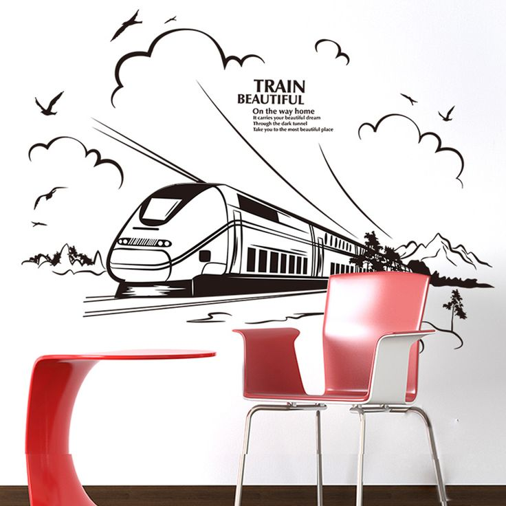 [SHIJUEHEZI] Customized Train Wall Sticker Quotes Vinyl DIY Home Decor for Living Room Kids Bedroom Decoration Mural Art Decals