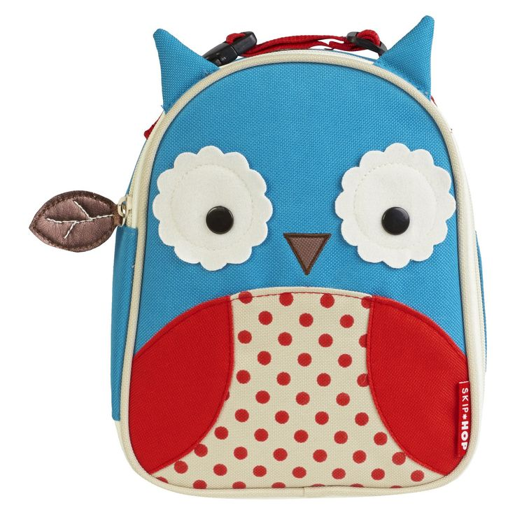 Skip Hop Zoo Little Kids & Toddler Insulated Lunch Bag - Owl, Blue/Red/White