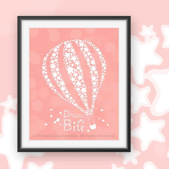 Hot air balloon art printable Dream big by PrintableChangeable