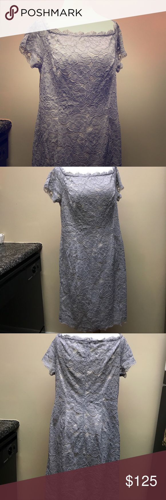 """Adrianna Papell • off the shoulder dress • NWT Adrianna Papell • light blue """"silvery blue"""" • off the shoulder • lace • dress •• Bought for a mother of bride dress and didn't take back in time •• Full price: $160. •• new with tags •• very flattering on Adrianna Papell Dresses"""