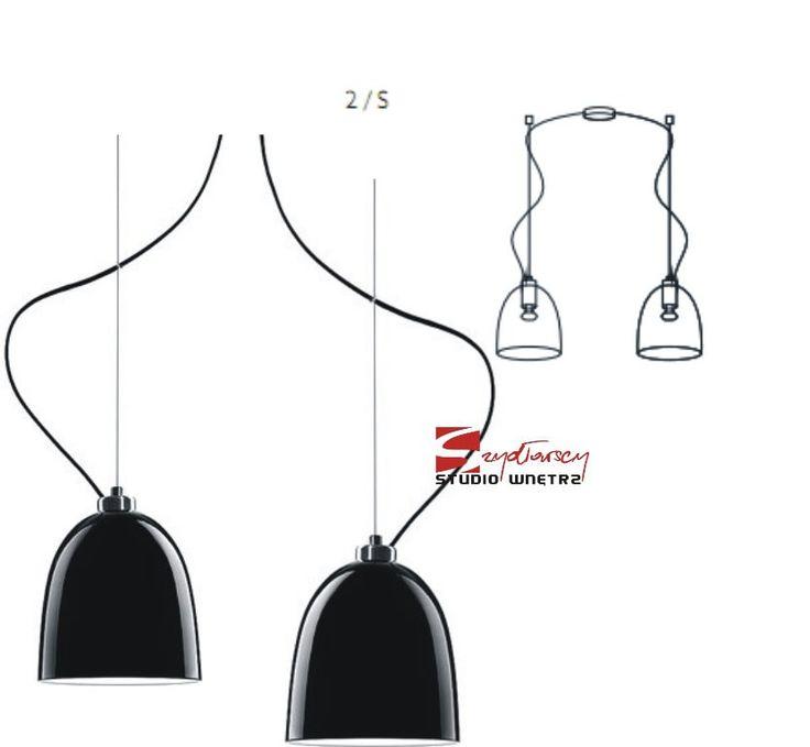 SOTTO LUCE AWA lampa wisząca 2/S czarna/biała/czarny przewód