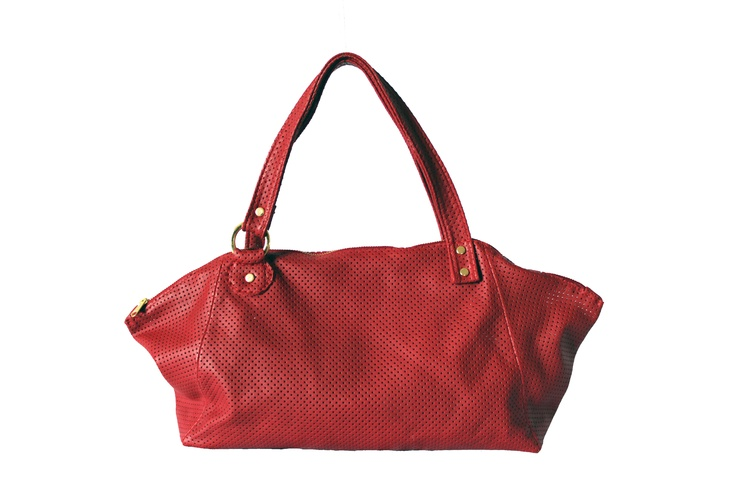 Perforated red italian leather bag. By Paulina Botero