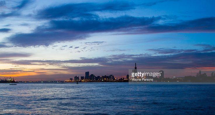 Stock Photo : Lagos sunset skyline, Victoria Island, Lagos, Nigeria,