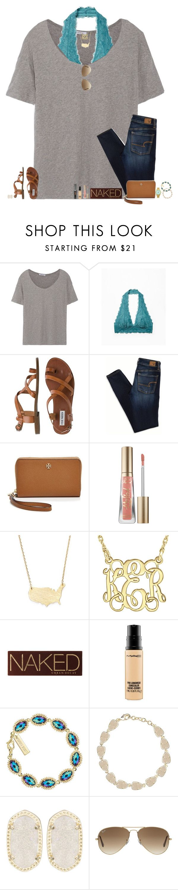 """""""Find me where wild things are▹"""" by maggie-prep ❤ liked on Polyvore featuring T By Alexander Wang, Free People, Steve Madden, American Eagle Outfitters, Tory Burch, Too Faced Cosmetics, Moon and Lola, Urban Decay, MAC Cosmetics and Kendra Scott"""