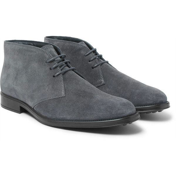 Tod's Suede Chukka Boots ($545) ❤ liked on Polyvore featuring men's fashion, men's shoes, men's boots, mens slip on boots, mens studded boots, mens slipon shoes, mens slip on shoes and tods mens shoes