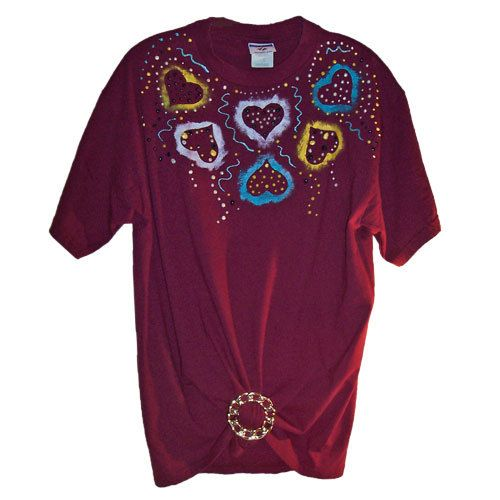 "Hand Painted ""Hearts"" Design Fashion Tee."