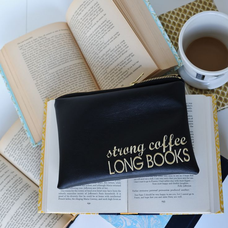 Strong Coffee Long Books Pencil Pouch, Black – Lucy Jane