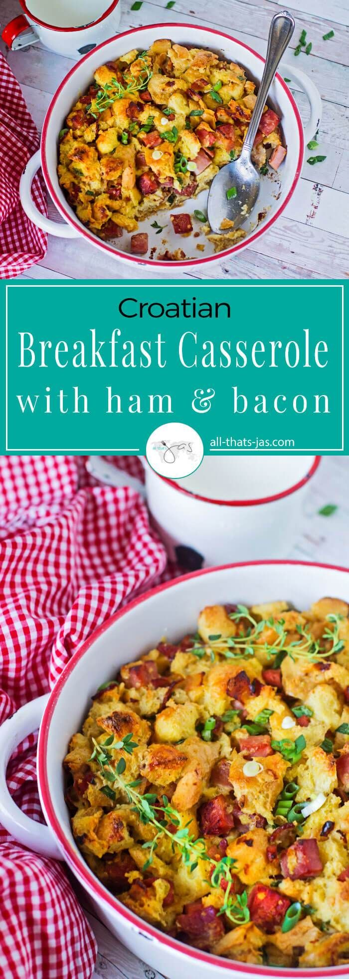 Breakfast casserole with ham and bacon - Traditionally served on Easter Sunday, this dish combines leftover or fresh bread, ham, and bacon. They are mixed with eggs and baked to a golden perfection. | allthatsjas.com | #casserole #breakfast #Easter #homecooking #cooking #brunch #easy #recipe #comfortfood #budgetfriendly