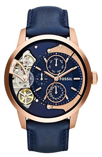 Fossil 'Townsman Twist' Leather Strap Watch, 44mm available at #Nordstrom its #affiliate link