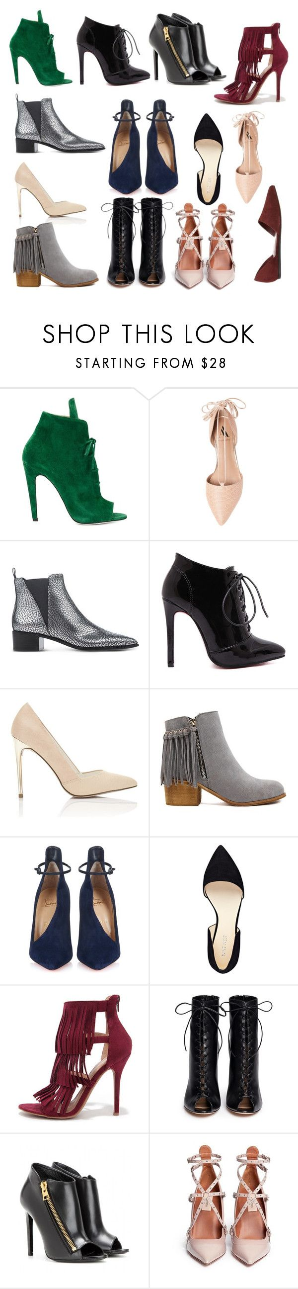 """""""Schoenen"""" by zoe-100 ❤ liked on Polyvore featuring Off-White, Ava & Aiden, Acne Studios, Miss Selfridge, Christian Louboutin, Nine West, Wild Diva, Gianvito Rossi, Tom Ford and Valentino"""