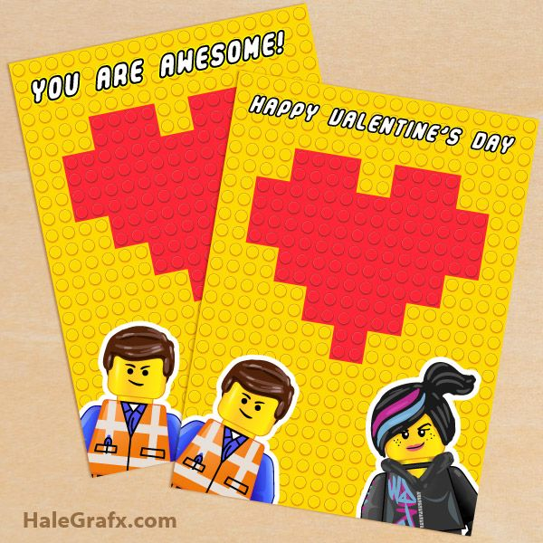 FREE Printable LEGO Movie Valentines Day Greeting Card Set