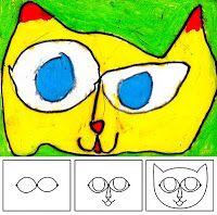 Art Projects for Kids: Laurel Burch Cat Heads, öljypastellit