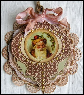 Vintage Santa Ornament Tag... (note to self: if Victorian Tree needs more ornaments with higher ceiling in new digs)