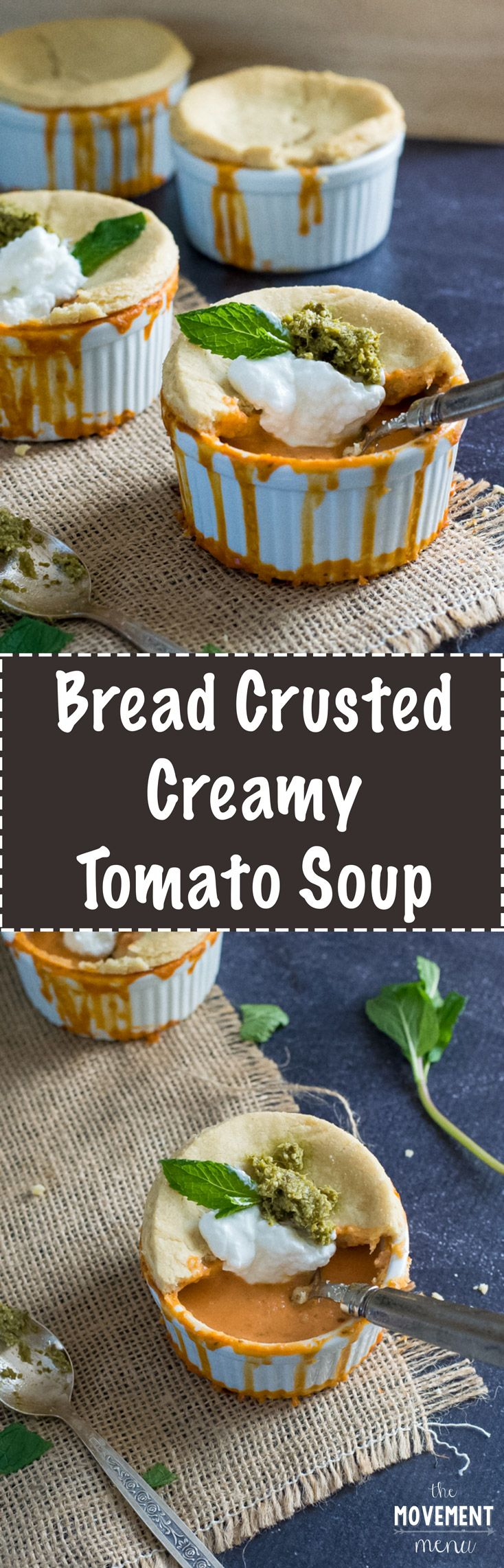 This creamy tomato soup recipe is topped off with a breaded crust and perfect for those chilly evenings, curled up on the couch. The recipe can also be made vegan! TheMovementMenu.com