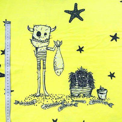 Kesäriivalit-luomujersey, sitruuna / Summertime Rudes organic single jersey knit in lemonade / Käpynen