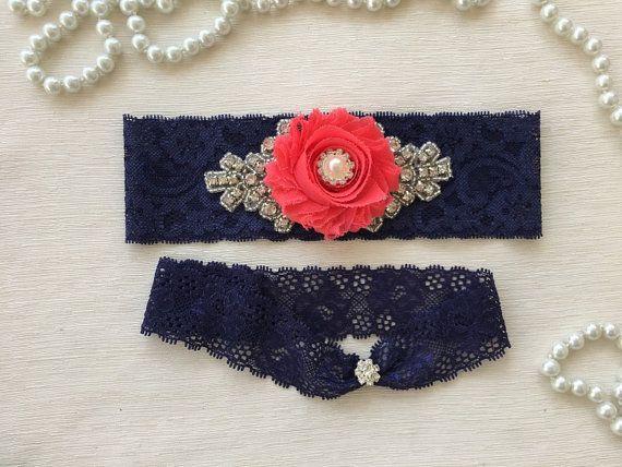 Liga de novia Liga novia Marina/coral set cordón azul