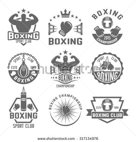 Boxing club set of vector monochrome labels, badges, emblems and logos isolated on white background, boxing championship emblems