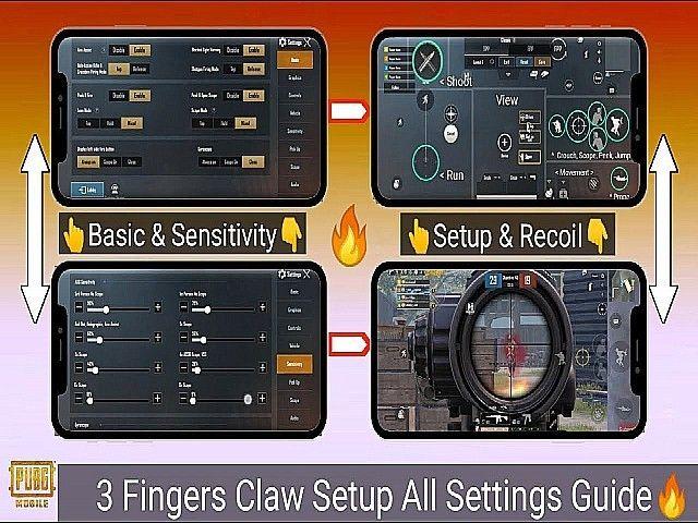Best Of 3 Finger Claw Setup And Sensitivity Setting For Pubg Mobile Mobile Skin Mobile Tricks Best Settings