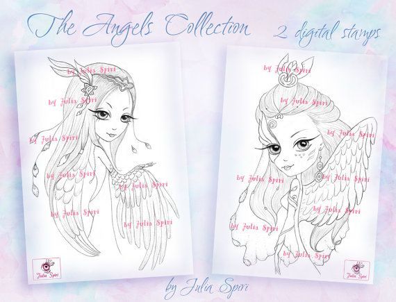 Digital stamps Angel Fantasy Angels Mask Wings Big by JuliaSpiri