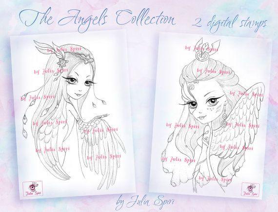 Digital stamps Angel Fantasy Angels Mask Wings Big by JuliaSpiri