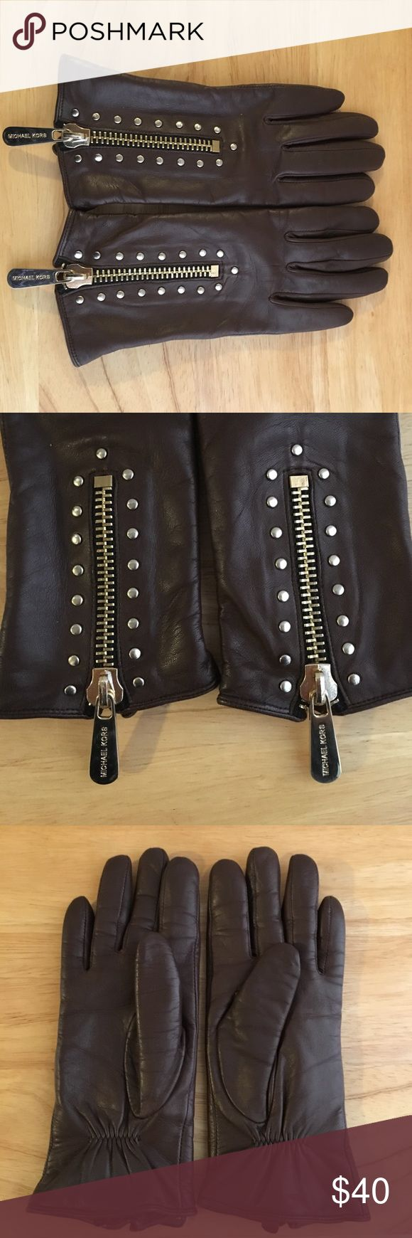 MICHAEL KORS GOLD STUDDED GLOVES MK Brown leather gloves. Gold tone zipper and studs. Very soft. EUC 🌸 MICHAEL Michael Kors Accessories Gloves & Mittens