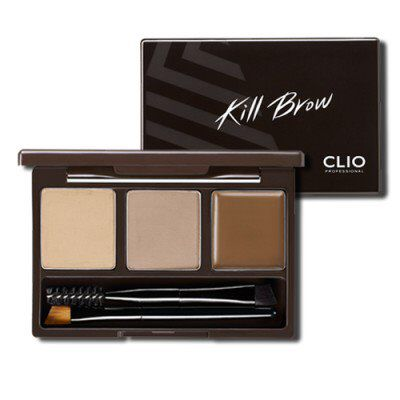 Kill Brow Conte Powder Kit from Clio Makeup $24,00 Powdery in formula for realistic and natural looking brows. Consists of coating pigments and a sliding silky effect to coat brows naturally and keep brows looking defined. Comes with a fixing wax to hold shape of brows, for a uniform sleek look. Also comes with a screw brush to comb and line brows, a powder brush to fill in and contour brows, as well as a wax brush to brow ends and arches.