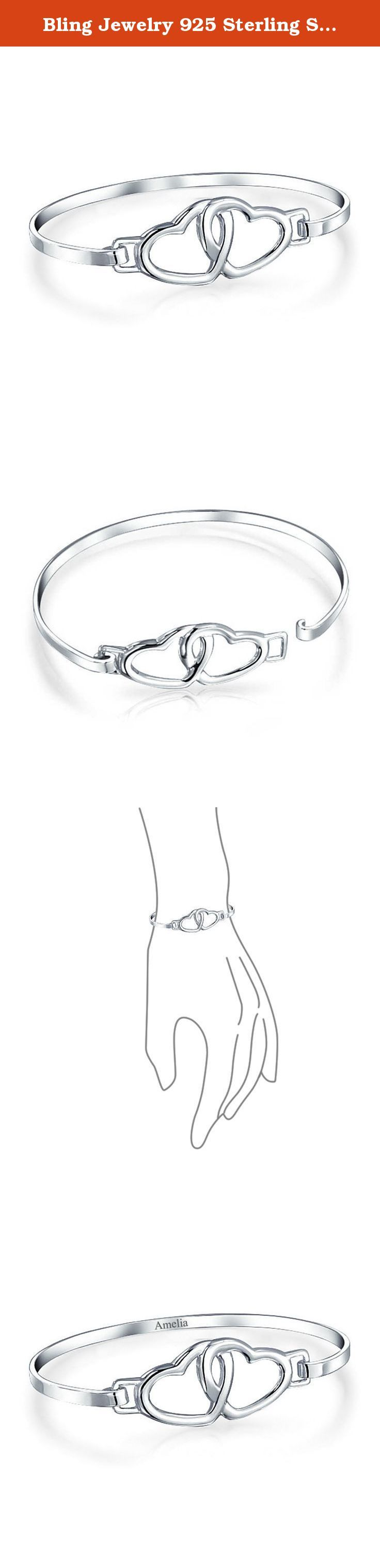 Bling Jewelry 925 Sterling Silver Open Double Heart Love Bangle Bracelet 7.5in Free Engraving. Our 925 sterling silver open double heart love bangle bracelet will put a smile on her face and brighten her day. The engravable bracelet opens on the top of the entwined hearts with an easy hook and loop clasp. Make this bracelet more meaningful by adding some custom engraving to this piece of personalized jewelry. These engraved bracelets are ideal Valentines Day gifts and birthday presents.
