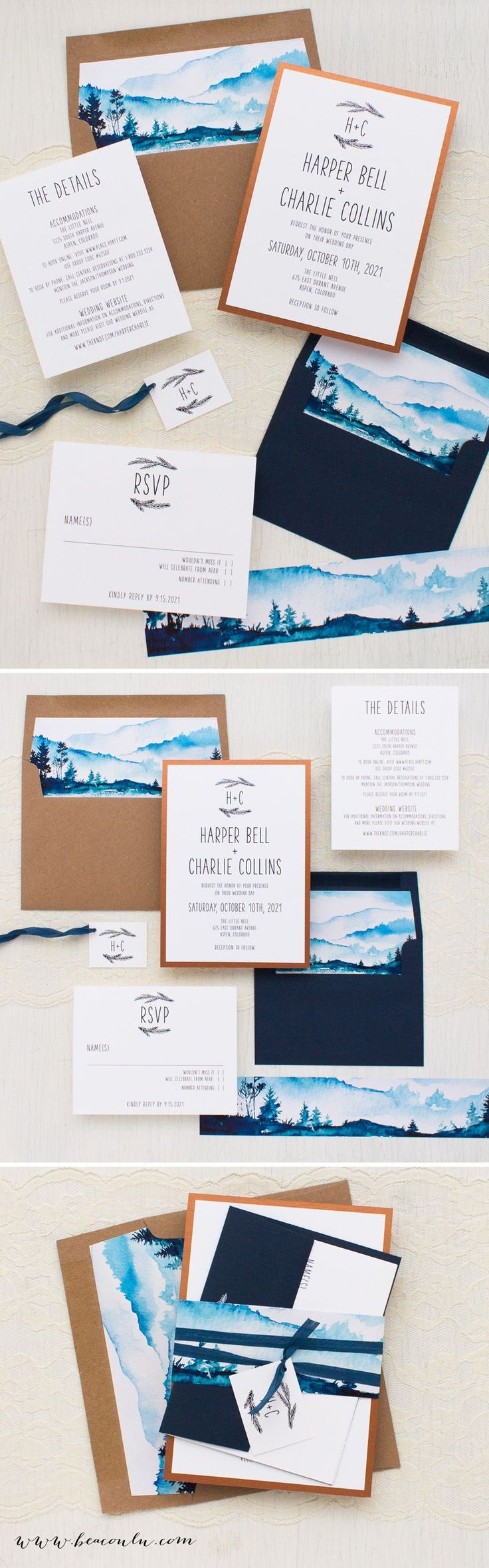 funny wedding invitation rsvp goes viral%0A Copper  kraft and navy blue mountain inspired Blue Mountain wedding  invitations  Simple typographic fonts