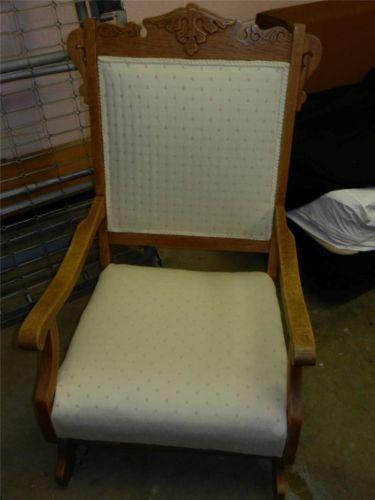 Antique Eastlake Victorian Oak Platform Spring Rocker Rocking Chair